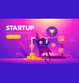 start up concept businessman holds a flying vector image vector image