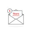 thin line 5 years anniversary logo like open vector image