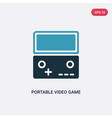 two color portable video game console icon from vector image vector image
