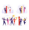 victory and business success set team male vector image vector image