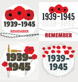 war world second banner concept set flat style vector image vector image