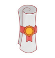 winner diploma rolled with medal vector image
