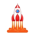 Cool cartoon style launching rocket with flame vector image