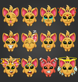 Set cute cartoon fantastic animal like a cat with vector image