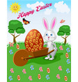 a rabbit on a cart with an easter egg vector image