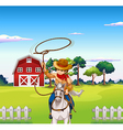 A young cowboy in the ranch vector image vector image
