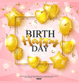 birthday greeting card on shiny pink background vector image vector image