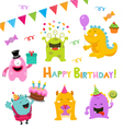 Birthday Monster Set vector image