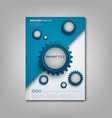 brochures book or flyer with abstract blue gears vector image vector image