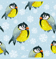 bullfinch birds tits seamless pattern vector image