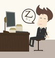 Businessman fall sleep at working place vector image vector image
