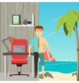Businessman On Vacation Concept vector image