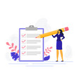 businesswoman checklist successful woman checking vector image vector image