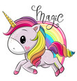 cartoon unicorn and a rainbow isolated on a white vector image vector image