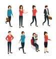 cartoon woman character various types and poses vector image vector image