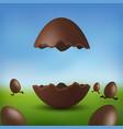 chocolate egg 3d happy easter broken brown easter vector image vector image