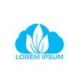 cloud leaf logo design vector image vector image