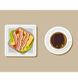 Coffee cup with sandwich top view vector image