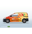 commercial vehicle-van template with advertising vector image vector image