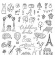 doodle wedding icon set with decorative elements vector image vector image