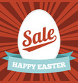 easter sale poster with red sun ray background vector image