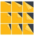 Flat yellow set of note paper with curled corner vector image