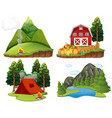 four nature scenes on white background vector image vector image
