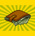 full wallet with money pop art vector image