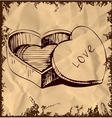 Heart shaped box on vintage background vector image vector image