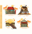 hut at beach bar and pier rescue house vector image