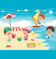 ilustration of kids playing at beach and se vector image vector image