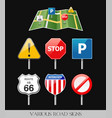 image of various road signs vector image vector image