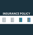 insurance policy icon set four elements in vector image vector image