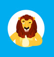 lion thumbs up and winks emoji wild animal happy vector image