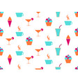 martini and cake seamless pattern cream vector image