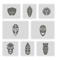 monochrome icon set with african ritual masks vector image