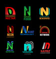 n letter font icons corporate business identity vector image vector image
