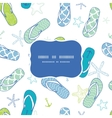 Nautical flip flops blue and green frame seamless vector image
