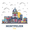 outline montpelier vermont city skyline with vector image