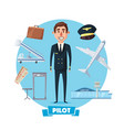 Pilot profession man and flight items