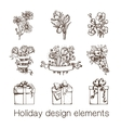 Presents and flowers sketch collection vector image