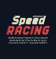 racing display font design alphabet letters vector image