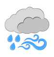 rain with wind icon weather label for web on vector image vector image