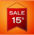 red pennant with inscription sale fifteen percent vector image