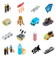 Refugees icons set isometric 3d style vector image vector image