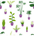 seamless pattern potted home plants vector image vector image