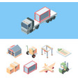 set delivery cargo isometric express service vector image