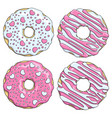 set of pink and white donuts decorated with hearts vector image