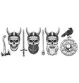 set of viking warriors vector image vector image