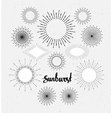 Set Of Vintage Sunbursts Hand-Drawn Hipster Design vector image